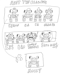 The primary cast of the Clam-Pet comic at www.goblinbrook.com